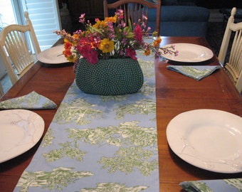 Toile Reversible Table Runner and 7 Matching Napkins, blue, green, off white