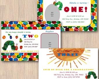 Hungry Caterpillar Invitations - Custom Age, Name, Date