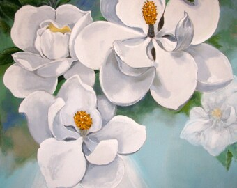 """MAGNOLIA flowers, White Turquoise, Blossoming, large size Original Painting on canvas, wall Art Home Decor, 56""""x 56"""", Free Shipping in USA."""