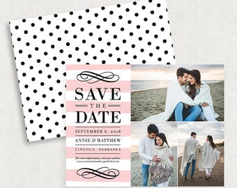Photo Save the Dates, Photo Save the Date Magnets, Save the Dates with 3 Photos, Pink Save the Dates, Stripe Save the Dates, Save the Dates