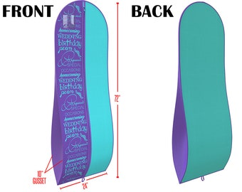 """Tiffany Blue and Purple Gusseted Gown Garment Bag for Dresses - Travel Folding Loop, ID Window- 72"""" x 24"""" with 10"""" Tapered Gusset"""