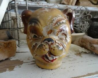Fantastic Vintage Shabby Dog Doll Composition Head
