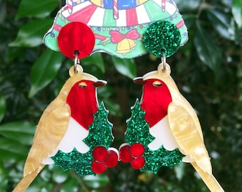 Noelle - robin redbreast a Christmas acrylic dangle earrings
