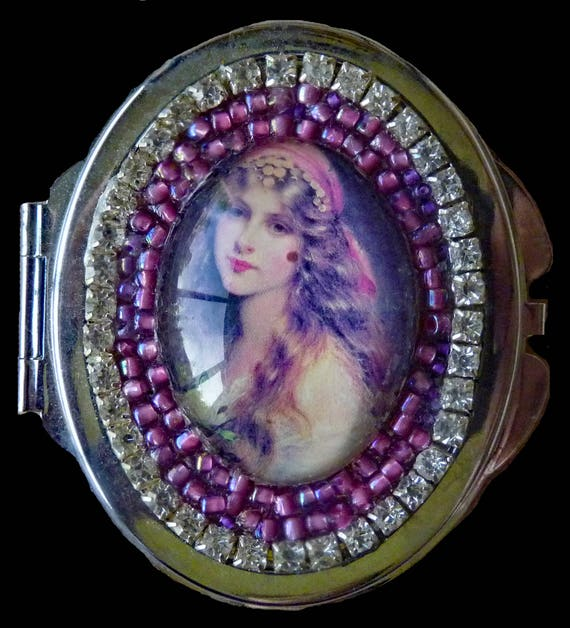 Gypsy Victorian Vintage Style Dual Mirror Compact with Rhinestone