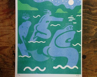 Nightswimming (Two-Color Risograph 11x17)