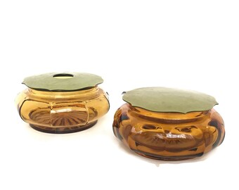 Vintage Glass Vanity Jars, Amber Glass Vanity Set, Art Deco, Green Celluloid Lids, Powder Jar, Hair Receiver, Dresser Jars Storage Container