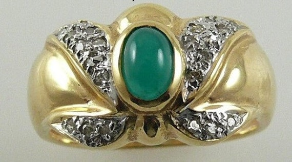 Emerald 0.53ct Ring 14k Yellow Gold with Diamonds