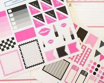 71 Diva Themed Planner Sticker Set- Hot Pink and Black Color Scheme Sticker Set- perfect in your Erin Condren planner, calendar or scrapbook