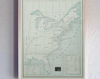 Original 13 American Colonies Antique Map Wood Print