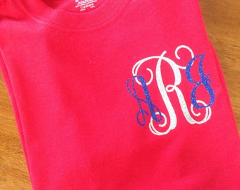 4th of July monogrammed tee