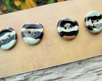 Handmade ceramic buttons Black buttons Striped Stoneware Porcelain Handcrafted for Fiber Art