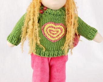 Ready to ship Waldorf inspired doll 13 inch (35 cm), textile doll, fabric doll,  rag doll, cloth doll, custom doll, soft doll