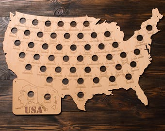 Personalized USA Personalized USA Beer Cap Map Man Beer Cap Map USA - Beer Cap Display Gift for Him Gift - Gift for friends