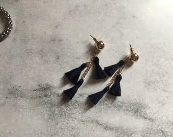 Navy blue tassel dangle earring