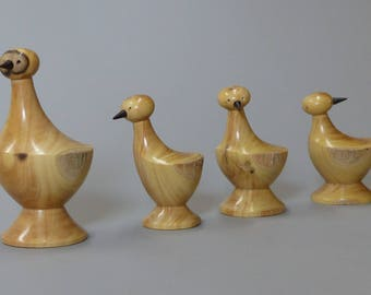 Duck family turned boxwood