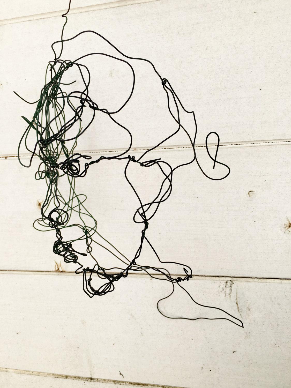 3D Wire Sculpture Woman Head Face sculpture Wire