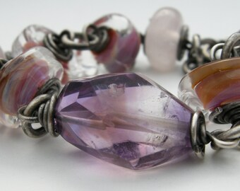 large ametrine stone bracelet, glass lampwork bead bracelet, ametrine jewelry, gemstone bracelet