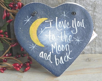 I Love You to the Moon and Back Salt Dough Heart Valentine's Day Ornament