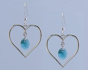 Silver Teal Heart Earrings - E2510 - Free Shipping