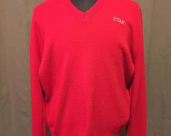 Vintage University of Utah Red VelvaSheen Sweater, Size: XL