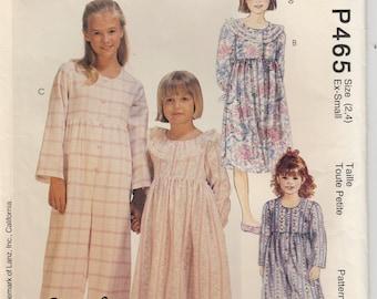Nightgown Pattern Pajama Jumpsuit Pattern Girls Size 2 - 4 Uncut McCalls 465
