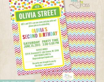Custom Birthday Party Invitation by Mulberry Paperie - sesame street inspired