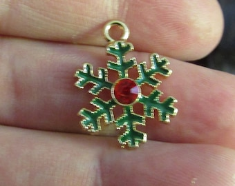 2 red green gold flake pendants 23mmx17mm