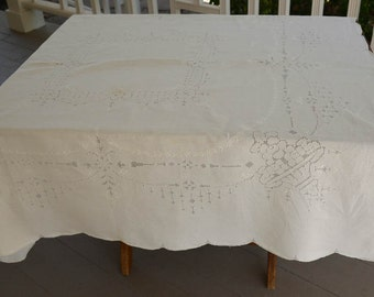"""Antique Tablecloth, Table Topper, Antique Linen Tablecloth 50"""" by 50"""""""