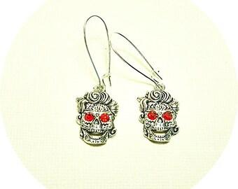 Sugar Skull Earrings, Skull Earrings, Silver and Red Skull, Day of the Dead Earrings, Red Eye Skull, Biker Chick Earrings, Skull Dangles