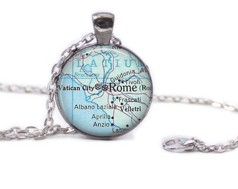 Rome Map Pendant Map Necklace Map Jewelry Map of Rome Necklace