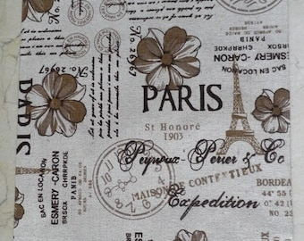 1 sheet of fabric adhesive printed hemp Paris 30 x 21 cm