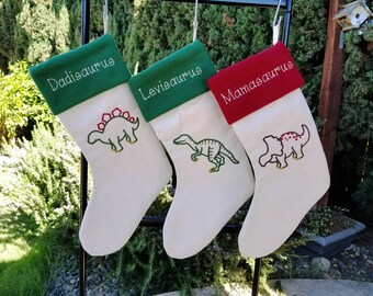 Personalized Christmas Stocking, Dinosaur Christmas Stocking, T-Rex Stocking, Dinosaur stockings, Lined stocking, fleece cuff by Sew4MyLoves