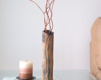 Earthy Ceramic Vase Organic Clay Vessel Rustic Earth Tones Home Accent Hand Built Pottery Vase