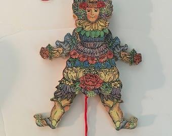 Traction bois Vintage String jouet marionnette