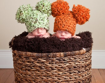 11 Colors Baby Twin Hats Twin Newborn Baby Girl Newborn Baby Boy Newborn Baby Hats Newborn Photography Prop Twin Photo Prop Twin Baby Hats