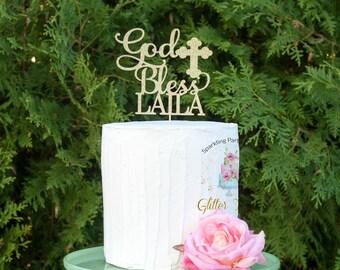 Personalized God Bless Cake Topper, Baptism Cake Topper, Christening Cake Topper, Holy Communion Cake Topper, Custom Baptism, any name