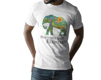 Elephant Shirt / white Shirt Elephant print / Elephant gift / Men's Elephant T-Shirt Save the last Elephants / animal welfare