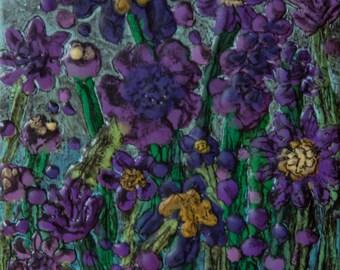 Purple Flowers II encaustic painting