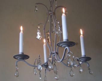 Antique French grey washed four branch with crystal drops candle chandelier