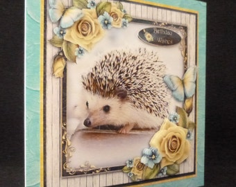 Hedgehog Card, Hedgehog Birthday Card, Hedgehog Get Well Card,  Mother's Day Card, 3D Decoupage Card.  Just to say Card  Thank You Card