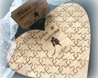Heart Shaped Personalized Wood Guest Book Puzzle with Plaque