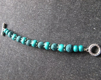 Bracelet for women, volcanic rock and turquoise stones