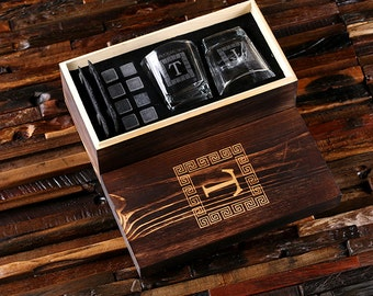 Whiskey Glasses Slate Coasters Sipping Stones in Wood Box Groomsmen Gift, Father's Day Scotch Men's Personalized Gift Set
