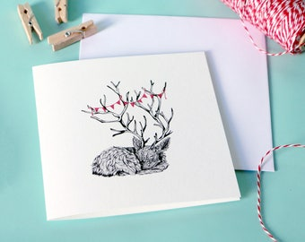 Greeting card – Fawn with bunting – square baby shower card – thnk you card – bambi – celebration