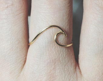Sterling silver Wave Ring/gold filled/surf/ocean wave ring/ocean ring/surfing/wire/surfer girl/beach jewelry/silver wave ring/gold wave ring