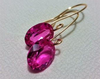 Pink Topaz Gold Earrings