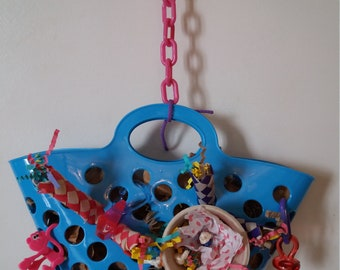 Basket sets on a chain to hang for all little Parrot parakeets