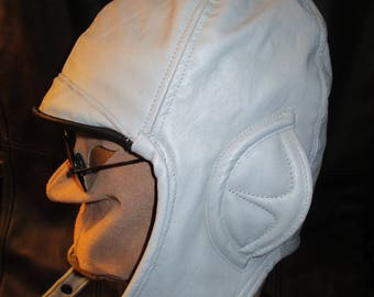 Aviator/ Motoring Hat 1920s Style in Light Gray Leather, Unisex Ear Flap Cap