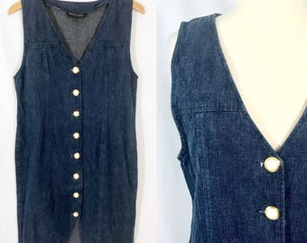 Dark Denim Dress    Vintage Clothing    Large Pearl Style Buttons    1980s Clothing    80s Dress