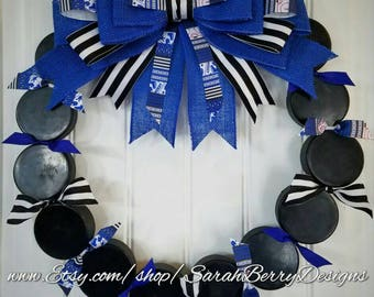 Hockey Wreath - Front Door Wreath - Sports wreath - Winter Wreath- Gifts for Her- Gifts for Him - Hockey Team - Coach's Gifts